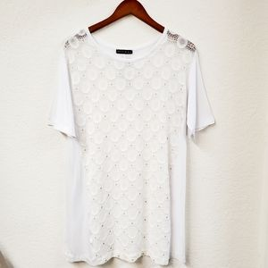 Nally & Millie Lace Front Short Sleeve Tunic